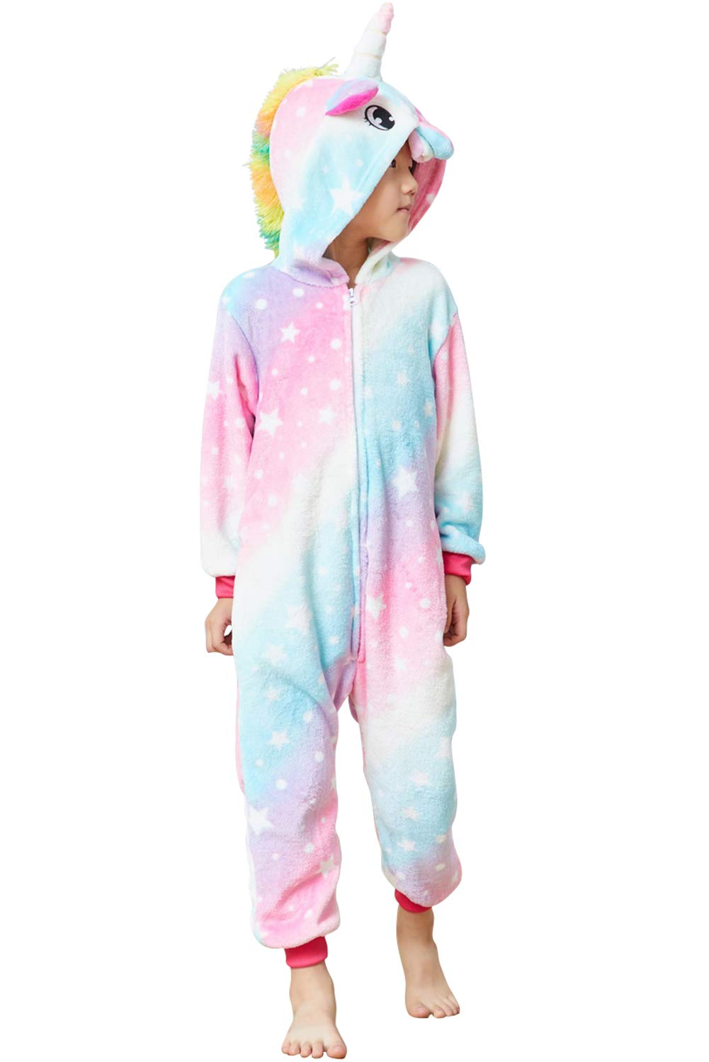 Lovely Kids Unicorn Onesie Pajamas Girls Animal Costume Chlidren Halloween Cosplay 4
