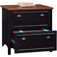 Bush 32 Lateral File Cabinet 30 3/4H X 32W X 20 3/4D For Home Office/Small Business - Antique Black/Hansen Cherry