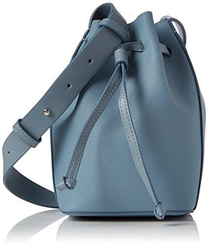 French Connection Women's Saffiano Chelsea Mini Bucket Shoulder Bag Multicolour (Arona Blu/Shny Silvr)