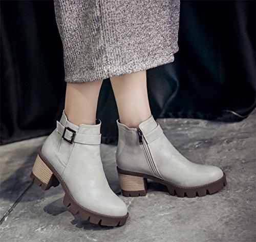 molla autunno delle alti stivali donne stivali breve della gli grey signora donne della fibbia partito La stivali cintura stivali delle e tacchi Martin di qFpwEKA