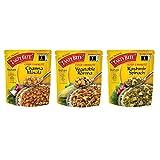 Tasty Bite Indian Entrée, THREE FLAVOR VARIETY PACK | Eack Packets, 10 Oz | CHANA MASALA | KASHMIRI SPINACH | VEG KORMA