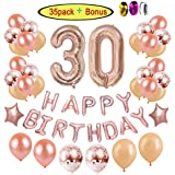 30th Birthday Decorations Party Supplies for Women | Rose Gold Dirty Thirty BDay Party Ideas-Giant Number Foil Balloon + Rose Gold Confetti Balloons + Happy Birthday Balloon Banner + Star Foil Balloon