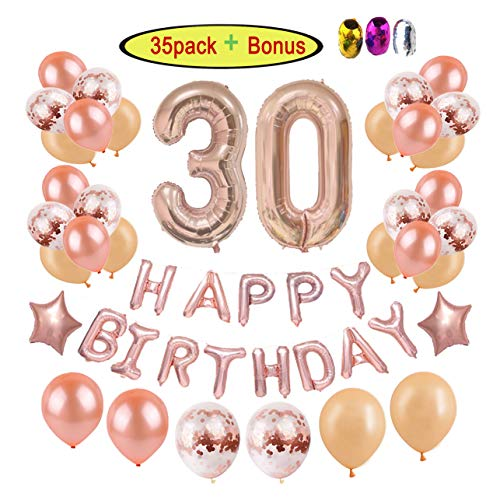 30th Birthday Decorations Party Supplies for Women | Rose Gold Dirty Thirty BDay Party Ideas-Giant Number Foil Balloon + Rose Gold Confetti Balloons + Happy Birthday Balloon Banner + Star Foil Balloon]()