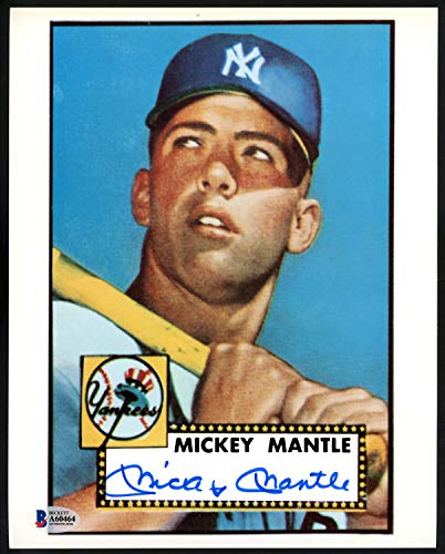 Mickey Mantle Autographed Signed Memorabilia 8x10 Photo New York Yankees 1952 Topps Rookie Card Image - Beckett Authentic ()