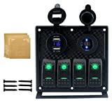 IZTOSS 4 gang Toggle Rocker Switch Panel with 4.2A Dual USB 12v Flashing alarm display Voltmeter Inline Fuses and Decal Sticker Labels for DC12V/24V Marine Boat Car Rv Vehicles Truck Red LED