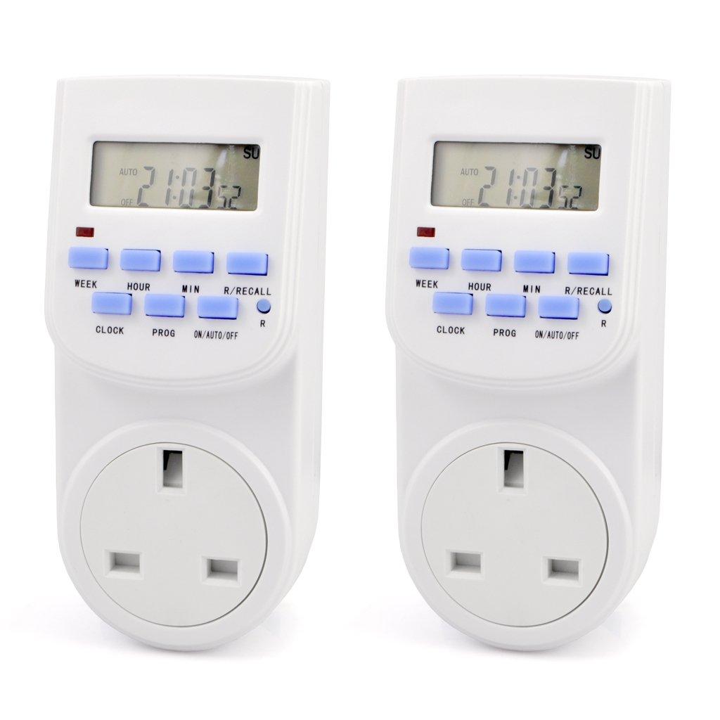 iKKEGOL Pack of 2 Digital LCD 7 Day 12/24hr Electronic UK Mains Plug-in Program Timer Switch Socket 10004x2