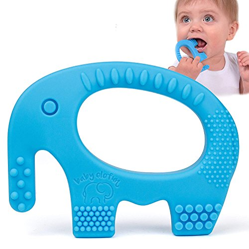 Adorable Blue Silicone Elephant Teether BPA Free - Best for Girl Or Boy Infant Newborn 3 6 12 Months / 1 Year Old Cool Sensory Learning Baby Shower/Easter Gifts ()
