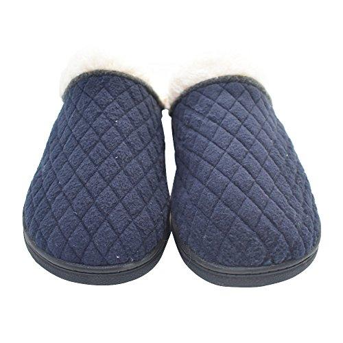 Coface Heren Katoenen Huis Slipeprs Memory Foam Bont Gevoerde Slip Op Klomp Winter Indoor Slippers Blauw