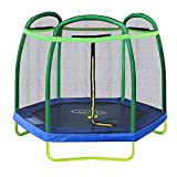 Clevr 7ft Kids Trampoline with Safety Enclosure Net & Spring Pad, 7-Foot Outdoor Round Bounce Jumper...