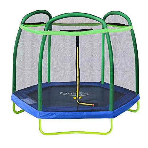 Clevr 7ft Kids Trampoline with Safety Enclosure Net & Spring Pad, 7-Foot Outdoor Round Bounce Jumper 84' Indoor/Outdoor, Built-in Zipper Heavy Duty Frame | Great Birthday Gift