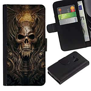 NEECELL GIFT forCITY // Billetera de cuero Caso Cubierta de protección Carcasa / Leather Wallet Case for Samsung Galaxy S3 MINI 8190 // Gótico del cráneo del demonio