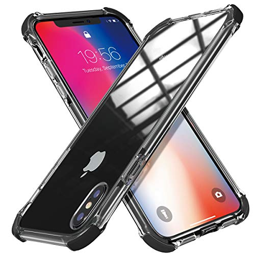 MATEPROX iPhone Xs Max Case Clear Hybrid TPU Hard Cover with Thin Shockproof Bumper Protective Case for iPhone Xs Max 6.5 (Black)