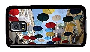 Hipster Samsung Galaxy S5 Case thin colorful umbrellas city street PC Black for Samsung S5