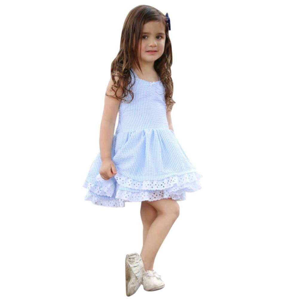 LNGRY Toddler Kids Baby Girl Summer Clothes Stripe Lace Party Princess Dresses