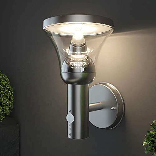 NBHANYUAN Lighting LED Outdoor Wall Light Fixtures with Motion Sensor Exterior Wall Sconce Silver Stainless Steel Weatherproof 3000K Warm Light Front Door Porch Light 9.5W 1000LM Energy Class A