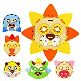 LHYP Wooden Pzzle Toys Stacking Blocks Preschool Educationy(Animal Mask) Gifts Toys Kids 2 3 4 5 6 + Years Old Toddlers Boys Girls 56 Pcs