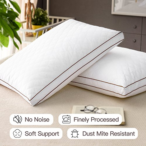 Casaottima Bed Pillows For Sleeping Standard Queen Size 2 pack Gusseted Pillow Hotel Collection Dust Mite Resistant Hypoallergenic Soft Support Polyester Fiber Fill
