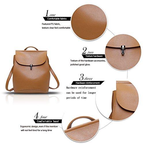 Sunas 2017 nuevas señoras bolsa de hombro de moda impermeable multiusos estudiante mochila bolsa de viaje de ocio bolsa marrón