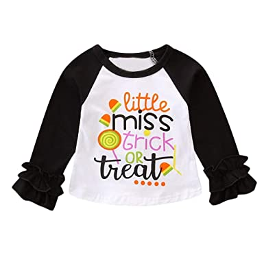 8122688c3 Baby Girls Long Sleeve Tee Shirt Tops Outfits Halloween Letter Printing  Shirt Toddler Fashion O-Neck Ruffles Blouse Shirt for 1-4 Years Infant Baby  ...