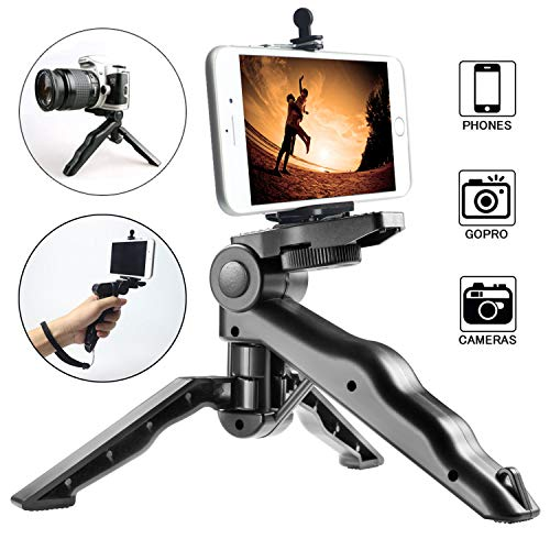 Ezavan Phone Tripod, Portable Handheld Pistol Grip Stabilizer for Camera/Cell Phone, Tabletop Mini Tripod with Universal Phone Clip for Selfies/Vlogging/Streaming/Photography/Recording