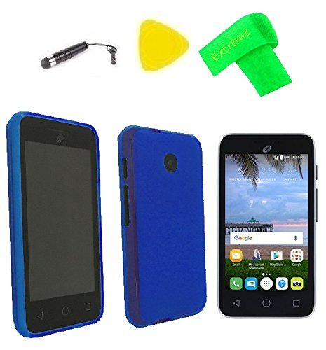 TPU Flexible Skin Cover Case Cell Phone Accessory + Screen Protector + Extreme Band + Stylus Pen + Pry Tool For Alcatel UNITE A466BG (TPU Blue) ()