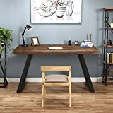 Tribesigns 55'' Solid Wood Computer Desk Rustic Desks with Heavy-Duty Metal Base, Simple Retro Style Office Desk Workstation (Espresso-Wengue Finish)