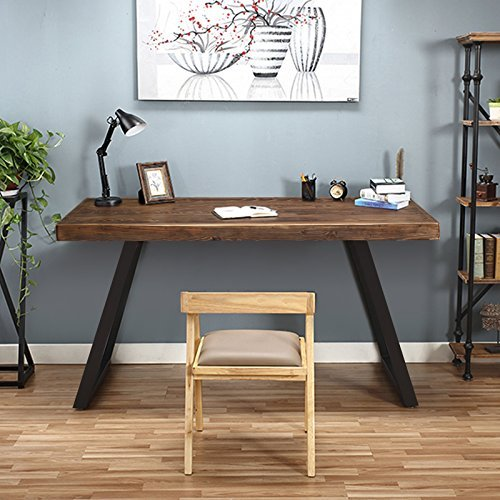 Tribesigns 55'' Solid Wood Computer Desk Rustic Desks with Heavy-Duty Metal Base, Simple Retro Style Office Desk Workstation (Espresso-Wengue Finish) by Tribesigns