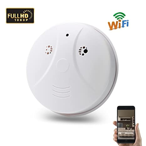 Wi-Fi Hidden Spy Camera, 1080P Mini Smoke Detector Camera Wireless IP Security Camera Wall Mount Motion Detection Surveillance Camcorder Free App ...