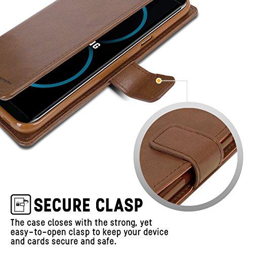 Galaxy S8 PLUS Fundas, [Drop Protection] GOOSPERY® Blue Moon Diary Caja del teléfono de la imitación de cuero tirón de la carpeta Fundas fundas para Samsung Galaxy S8 PLUS - Black Brown