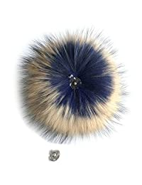 "Blue Brown 15cm 6"" Real Raccoon Fur Pom Pom Ball Snap Button f Cap Beanie Hat"
