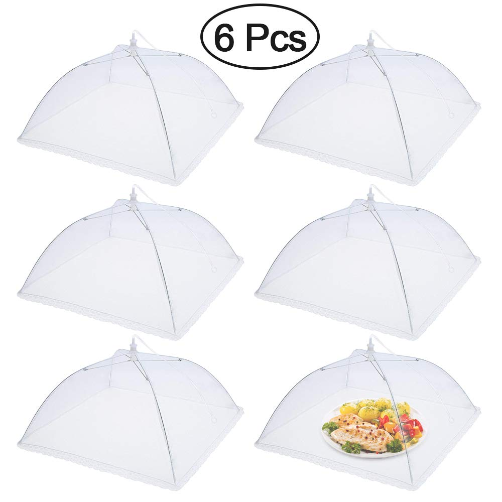 Food Cover Tent, Mixigoo (6 pack) Large and Tall Pop-Up Mesh Screen Cover Outdoor Food Cover Umbrella Mesh Table Tent Food Protector Covers For Bugs, Parties Picnics, BBQs, Reusable and Collapsible