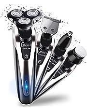 Recortadora de Barba, HQQNUO 4 en1 Maquina de Afeitar, Afeitadora Eléctrica Rotativa para Hombre Cortapelo Cortadora de Pelo Nariz Cepillo de Limpieza Facial,Mojado y Seco Impermeable USB Carga Rápida