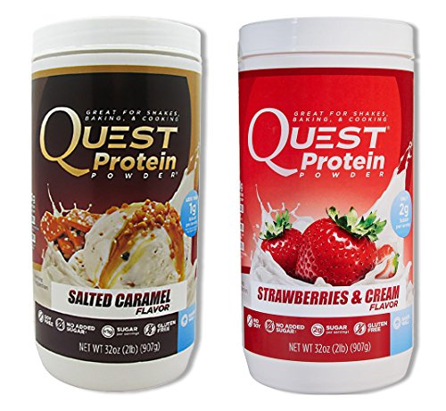 Quest Nutrition Quest Protein EBseUB Powder, Salted Caramel/Strawberries & Cream 2lb Tub (1 of Each) by Quest Nutrition
