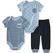 Calvin Klein Baby Boys' 3 Pieces Bodysuit Pant Set, Light Blue, 0/3M