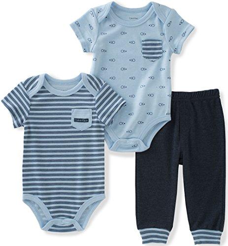 Calvin Klein Baby Boys' 3 Pieces Bodysuit Pant Set, Light Blue, 18M