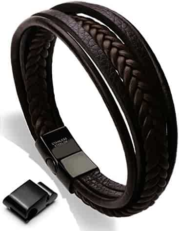 Leather Bracelet Magnetic-Clasp Cowhide Braided Multi-layer Wrap Mens Bracelet, 8''-8.7''