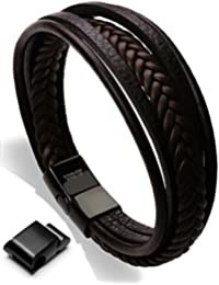 "<span class=""a-offscreen"">[Sponsored]</span>Leather Bracelet Magnetic-Clasp Cowhide Braided Multi-layer Wrap Mens Bracelet, 8''-8.7''"