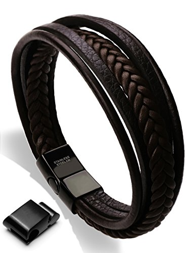 Mens Cowhide Leather Braided Bracelet Magnetic-Clasp Multi-layer Wrap Bracelet, 8.7 inch(brown)