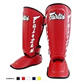 "Fairtex Twister Shin Guards, SP7 - Detachable In-Step Shin Pads (A.K.A. ""Twister""). Size M L XL. White Red Color. Muay Thai Kick Boxing MMA K1 Shinguards (Red, M)"