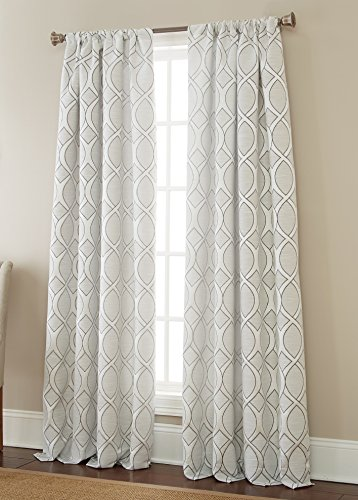 Sherry Kline Infinity Jacquard 96 Window Panel Linen Silver 2 Piece