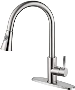 GUSITE Stainless Steel Pull Out Kitchen Faucet Single Handle Brushed Nickel with Deck Plate, High Arc Single Lever Kitchen Sink Faucet with Pull Down Sprayer