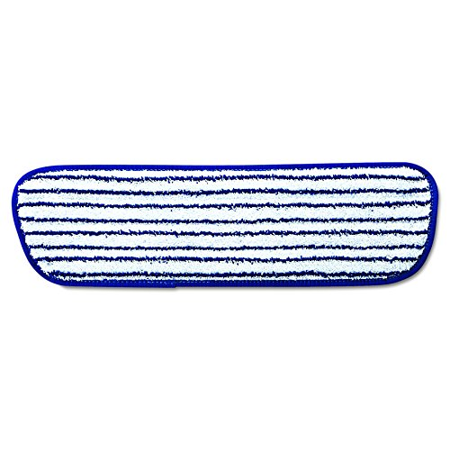 Rubbermaid Commercial RCP Q800 WHI RCPQ800WHI Microfiber Finish Pad, 18'' x 5 1/2'', Blue/White (Pack of 6) by Rubbermaid Commercial
