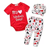 Newborn Baby Girls My 1st Valentine's Day Letters Print Romper Tops Pants Headband 3PCS Outfits Set (6-12M, Red)