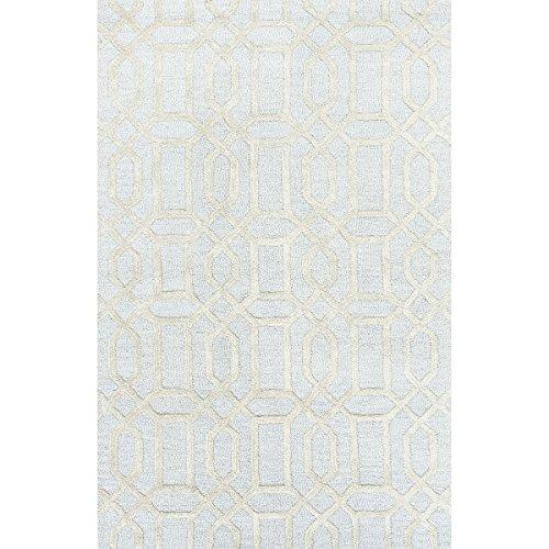Bellevue Cream - Diva At Home 2' x 3' Light Cyan Blue and Cream Modern Bellevue Hand Tufted Wool and Art Silk Area Throw Rug