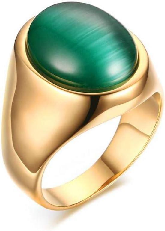 XINYIU Anillos De Piedra De Ojo De Gato Verde Ovalado para Hombre Acero Inoxidable Color Oro Conjuntos Nupciales De Acero Joyería De Dedo