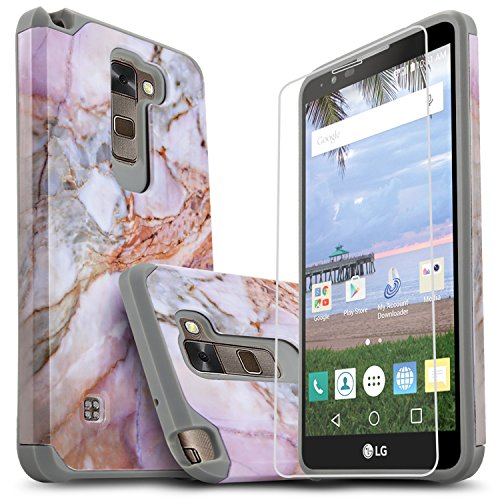 LG Stylo 2 Case, LG Stylo 2 Plus Case, LG Stylo 2 V Case, Starshop [Shock Absorption] Dual Layers Impact Advanced Protective Cover with [Premium HD Screen Protector Included] (Marble Pattern)