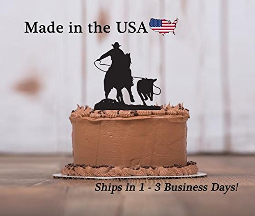 Calf Roping Cake Topper, Rodeo, Party Decor, Farm Living, Country Western, Cake Toppers, Birthday Party, Cake Decorations, Keepsake