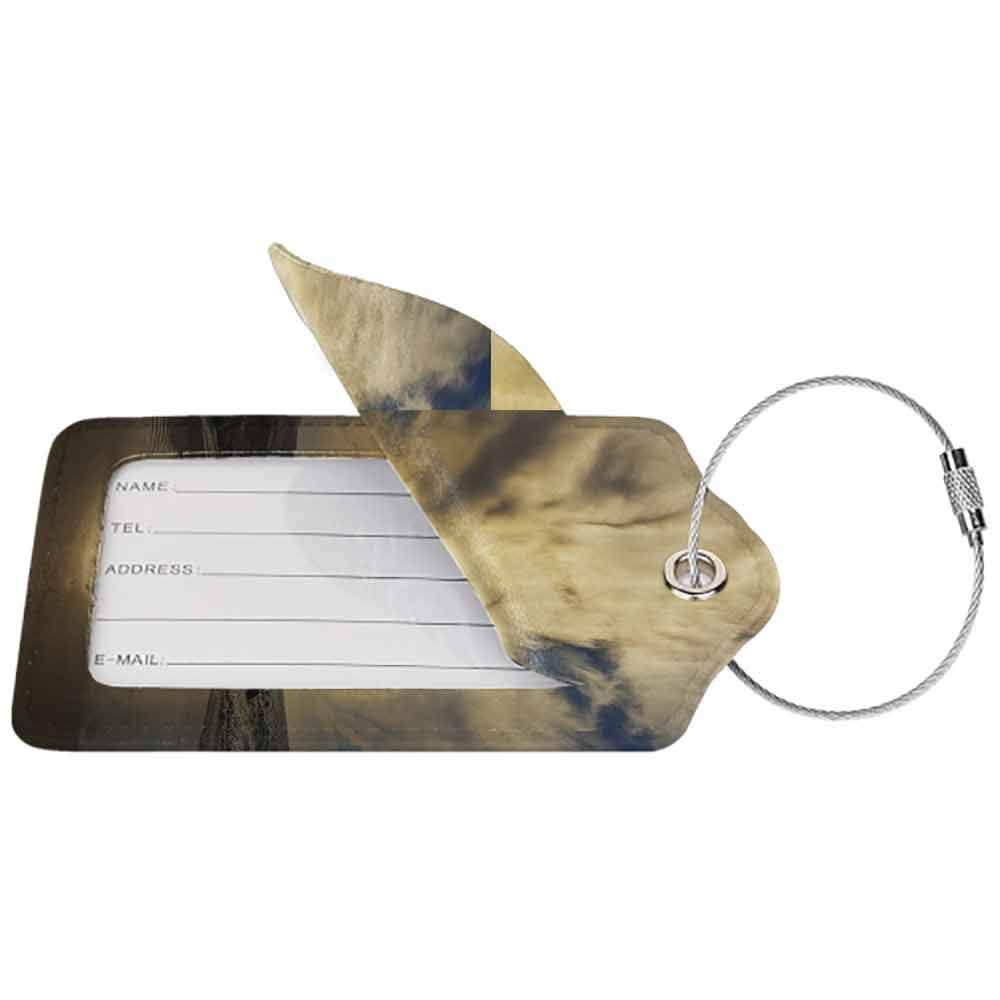 Modern luggage tag Nature Decor Long Exposure Beach Ocean Sunset Rocky Coast with Waves Cloudy Sky Autumn View Suitable for children and adults Sepia W2.7 x L4.6