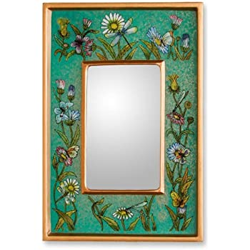 NOVICA Handmade Floral Emerald Fields' Reverse Painted Glass Mirror