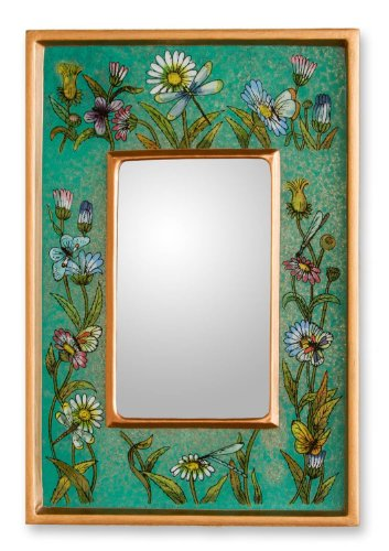 NOVICA Handmade Floral Emerald Fields Reverse Painted Glass Mirror